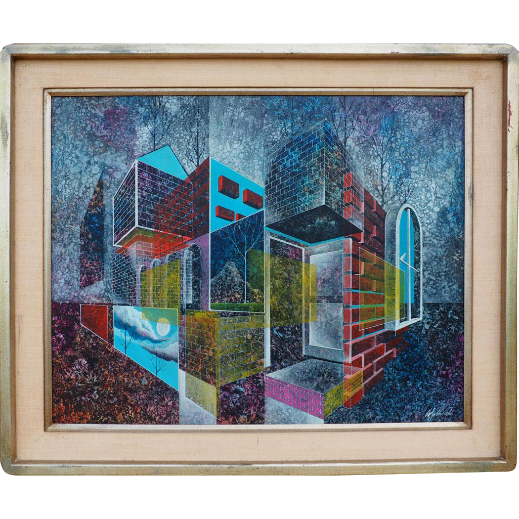 Reflective City abstract vintage surreal oil painting by Dan Wuthrich