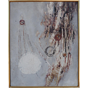 Abstract expressionist modern vintage oil painting by Albert Kotin