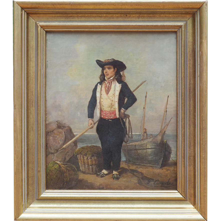 Fisherman boy antique 1870s oil painting by Louis Caradec France