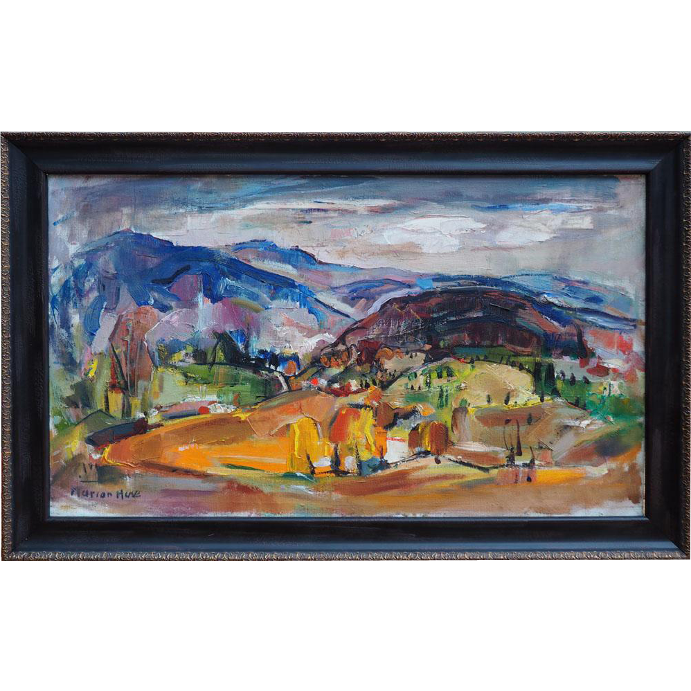 Mountain town landscape impressionist vintage oil painting by Marion Huse Massachusetts Vermont