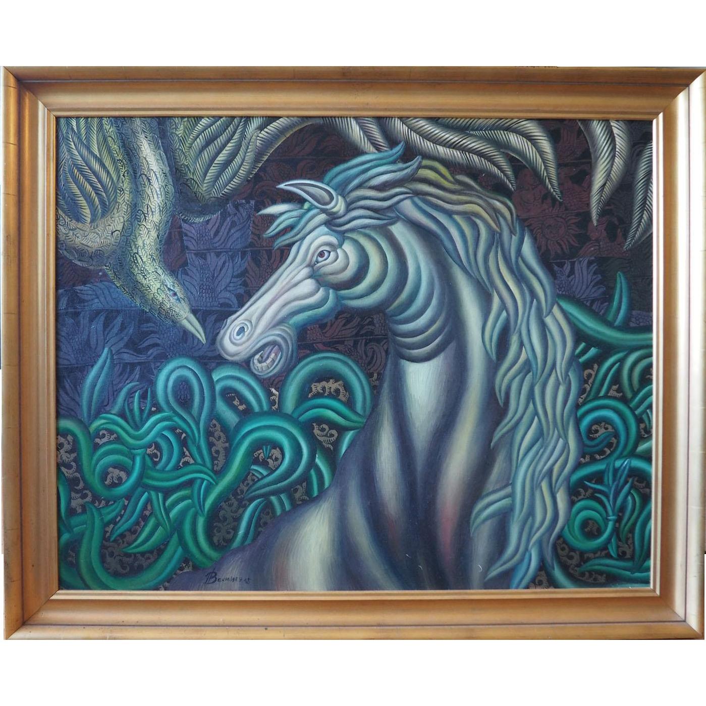 Horse and bird original surreal mythical painting by Henry Bermudez Venezuela