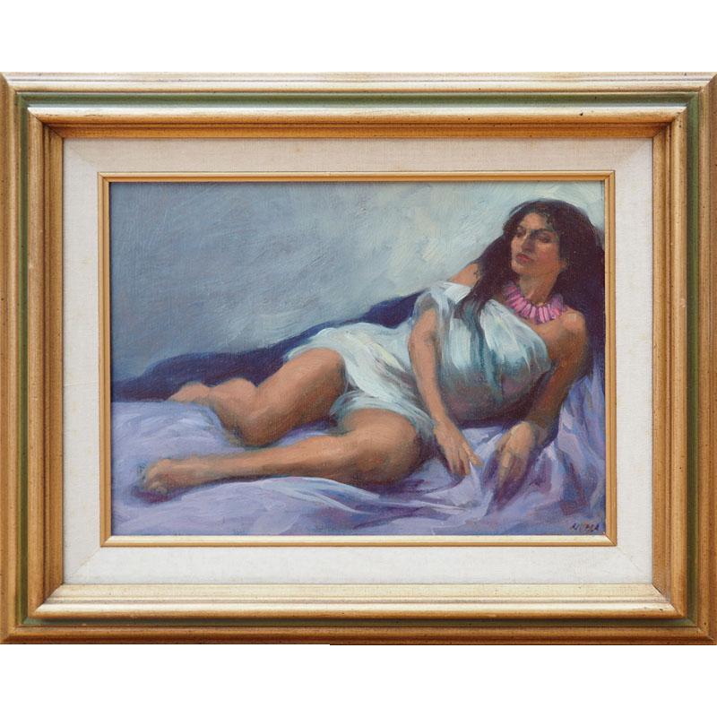 Semi Nude Resting Woman Vintage Oil Painting By Elias -6777