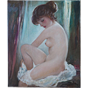 Nude woman vintage oil painting by Georg Albert Dorschfeld Germany