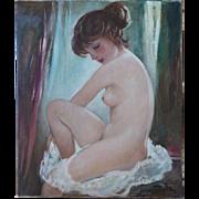 Nude woman vintage oil painting by Georg Albert Dorschfeld Germany