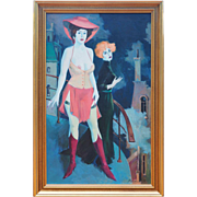 Nude woman w friend on balcony original oil painting by Mark Furman Israel