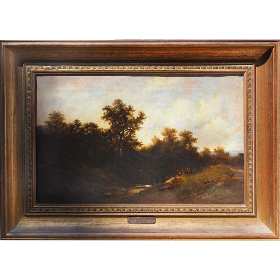 Country landscape antique Dutch oil painting by Remigius Adrianus Haanen / Remi Van Haanen the Netherlands