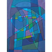 Colorful abstract geometry fun vintage oil painting by Lois Foley Vermont artist