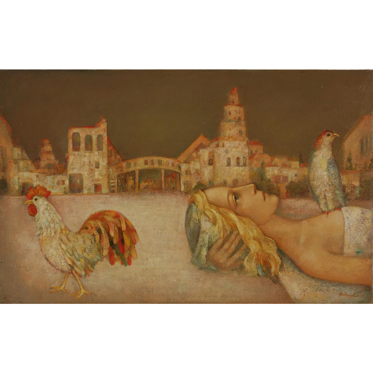 Dreaming woman with rooster and bird original oil painting by Mihail Aleksandrov
