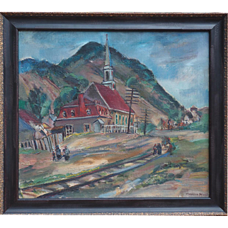 Quebec church by railroad tracks original 1936 oil painting by Marion Huse