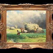 Harvesters on field Russia vintage oil painting