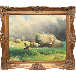 Harvesters on field Russia vintage oil painting