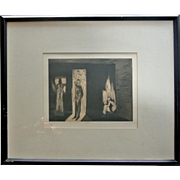 Chiaro di Luna signed vintage 1984 etching by Italian artist Mimmo Paladino