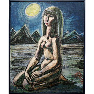 Seated nude woman in a desolate desert night pastel painting by Latvian artist Gunars Vindedzis