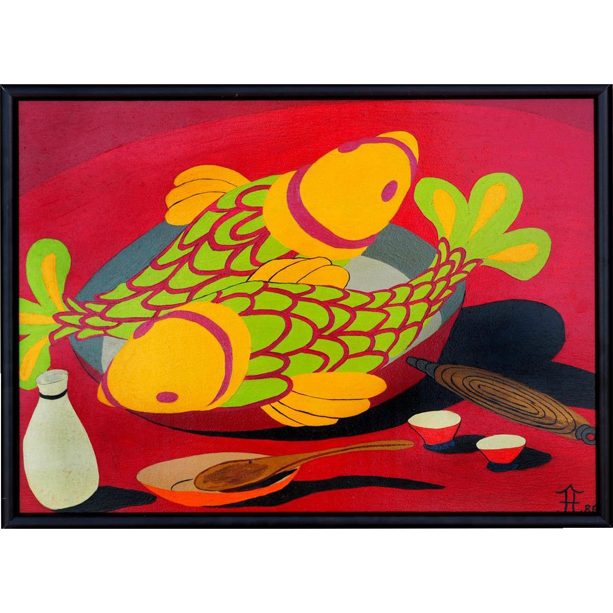 Fish N Sake vintage still life painting by Puerto Rican American artist Frank Diaz Escalet