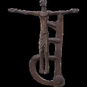 Jesus Christ crucifixion abstract spiritual vintage bronze sculpture
