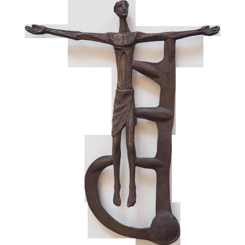 jesus christ crucifixion abstract spiritual vintage bronze