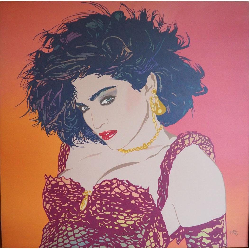 Madonna singer vintage pop art large original painting by Clayton LeFevre