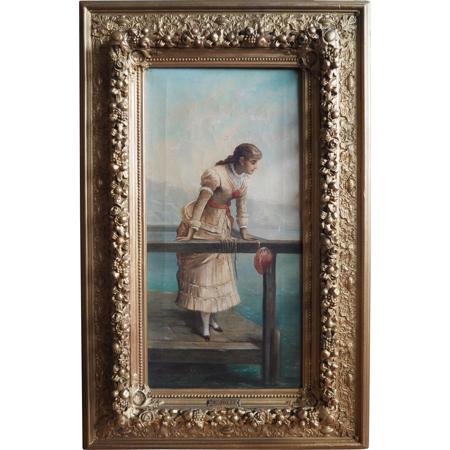 Woman on pier antique 19th century Italian painting by Ernesto Jolli Italy