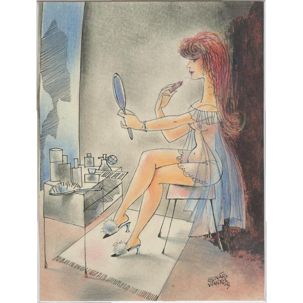 Nude woman putting on lipstick original vintage drawing / painting by Gunars Vindedzis Latvia