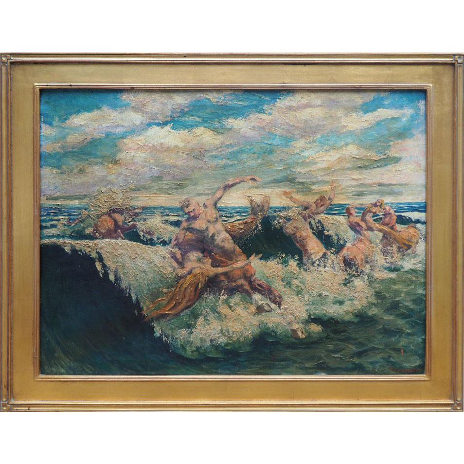 Centaurs and mermaids mythical vintage oil painting by Vladimir Lazarev