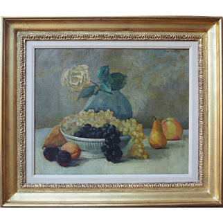 Yellow Rose with Fruit vintage impressionist oil painting by Nan Watson