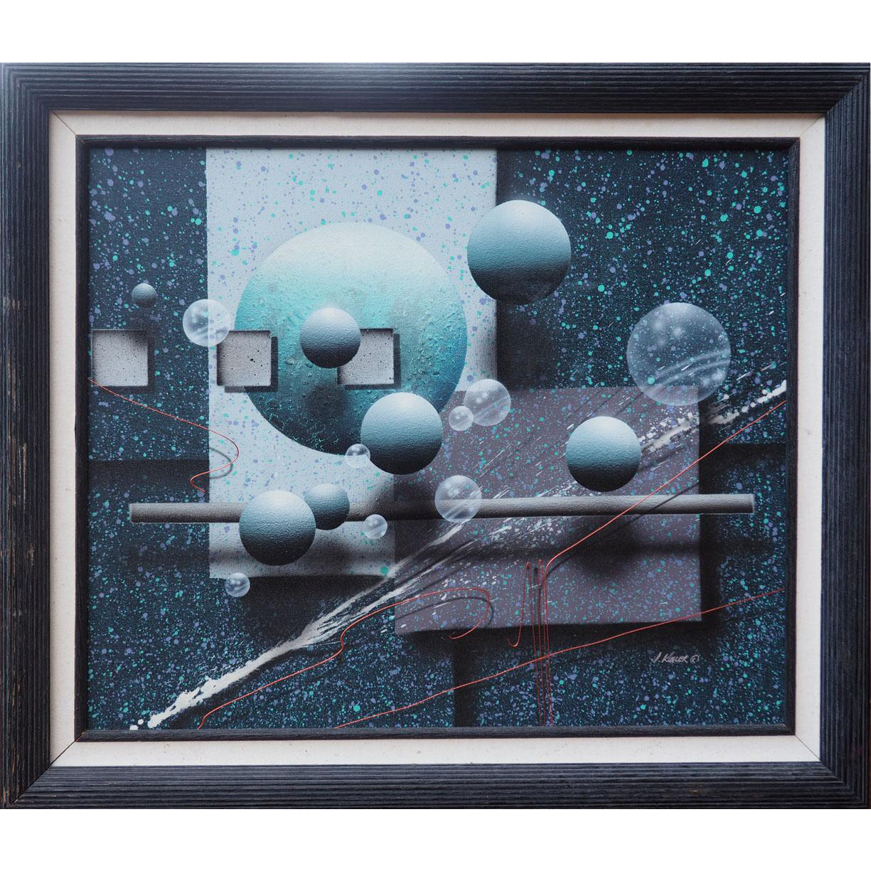 Abstract illusionist spheres in space original vintage painting by J. Kugler
