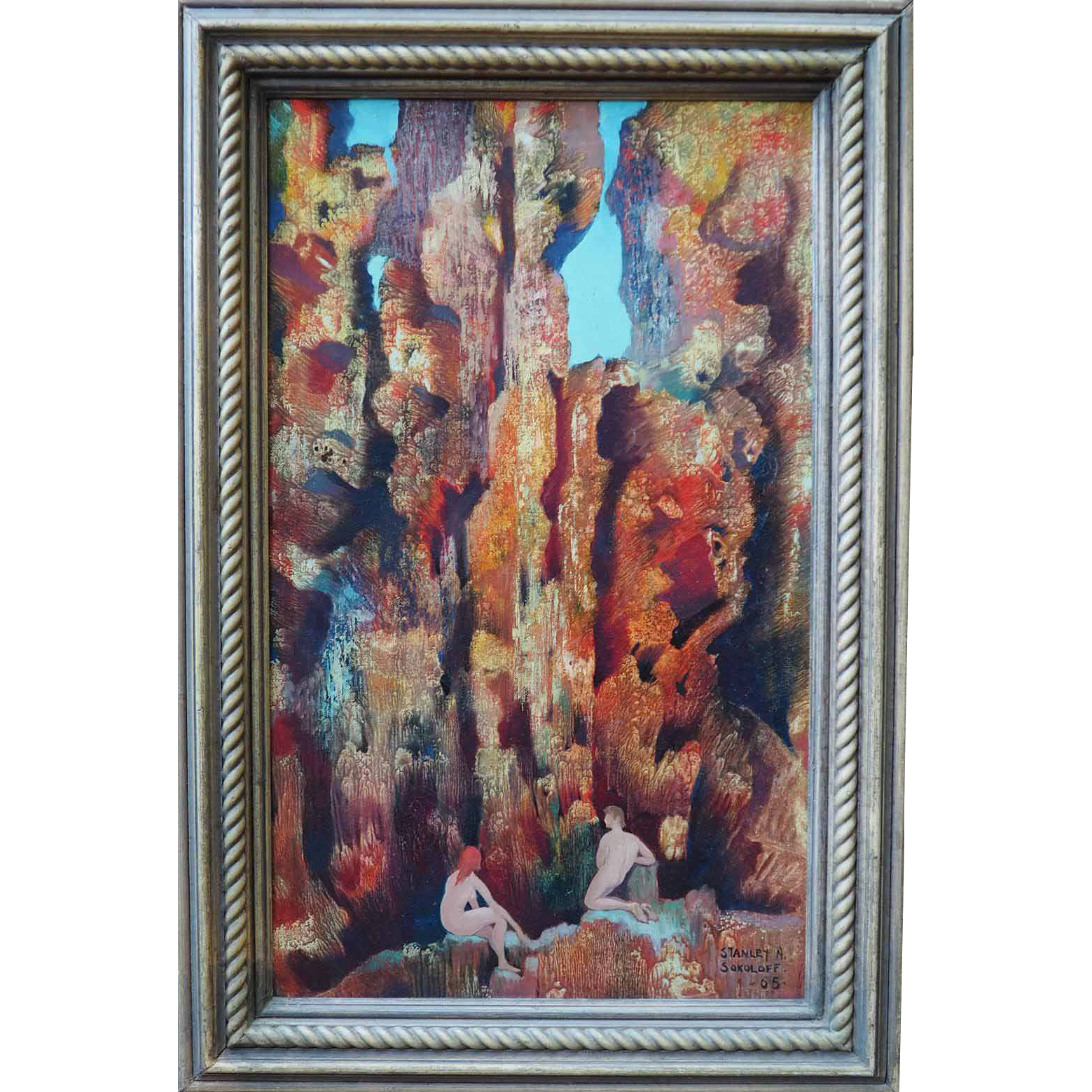 Paradise garden nude figures original vintage oil painting by Stanley Sokoloff