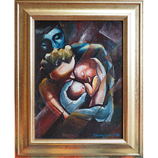 1946 abstract cubist family oil painting by Russian American artist Val Telberg