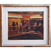 Trump Tower Plaza interior view vintage painting by Elias Rivera