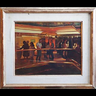Trump Tower Plaza interior view vintage painting by Elias Rivera