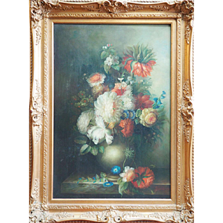 Superb large vintage flower floral still life signed oil painting