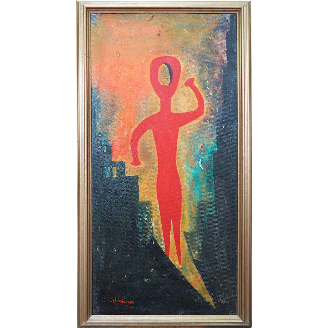 Something Lost lonely figure abstract modern vintage painting by Gary Hansmann
