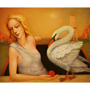 Girl with swan original oil painting by Russian American artist Mihail Aleksandrov