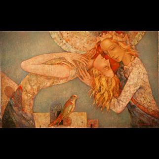 Awakening original oil painting by Russian American artist Mihail Aleksandrov