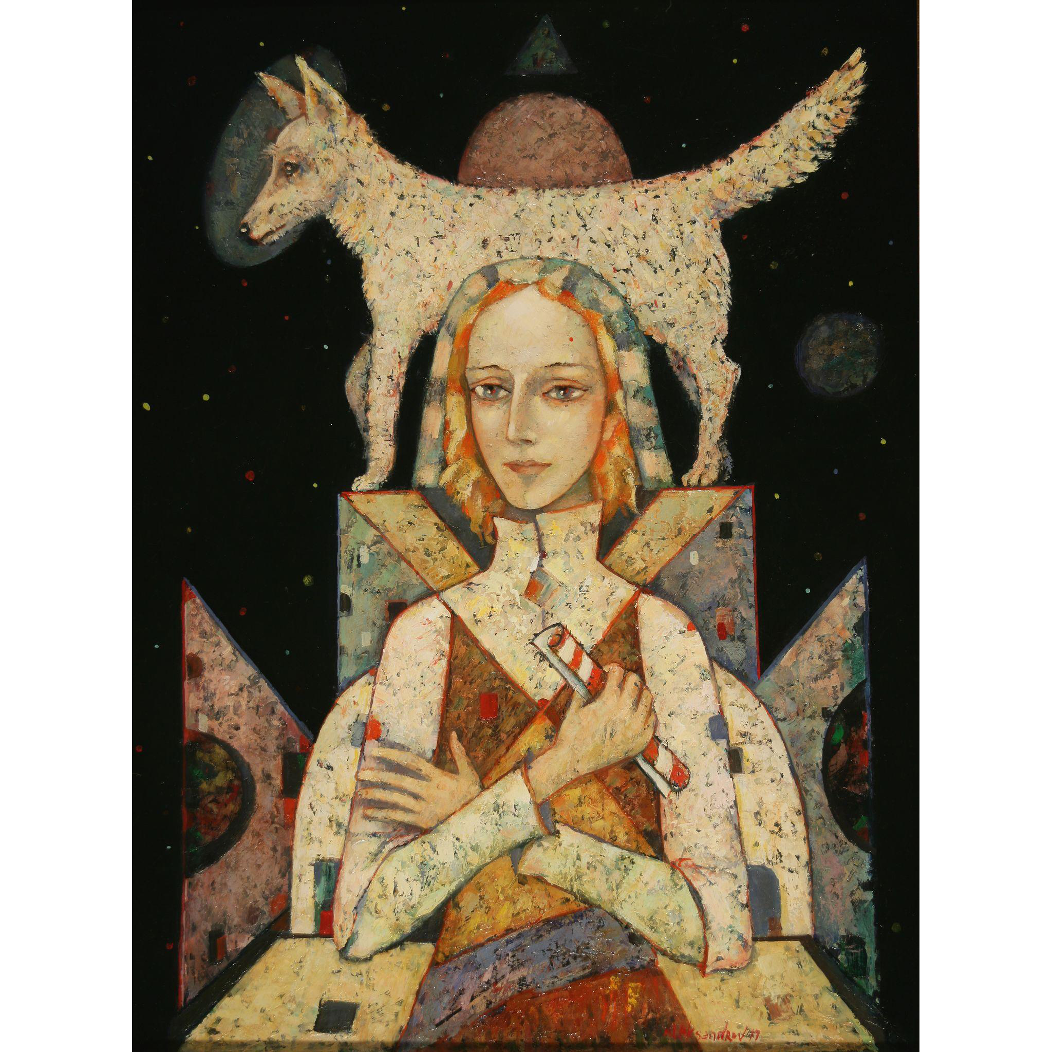 Fidelity - woman with dog abstract original oil painting by Russian American artist Mihail Aleksandrov