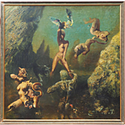 Original nude woman warrior vintage fantasy surreal large signed oil painting