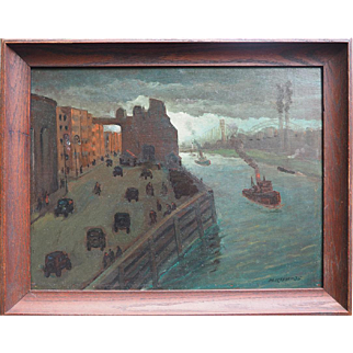 Original 1935 New York City busy street by river oil painting by a Jewish American artist Maurice Kish