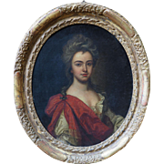 Young noble woman royalty antique 18th 19th century oil painting