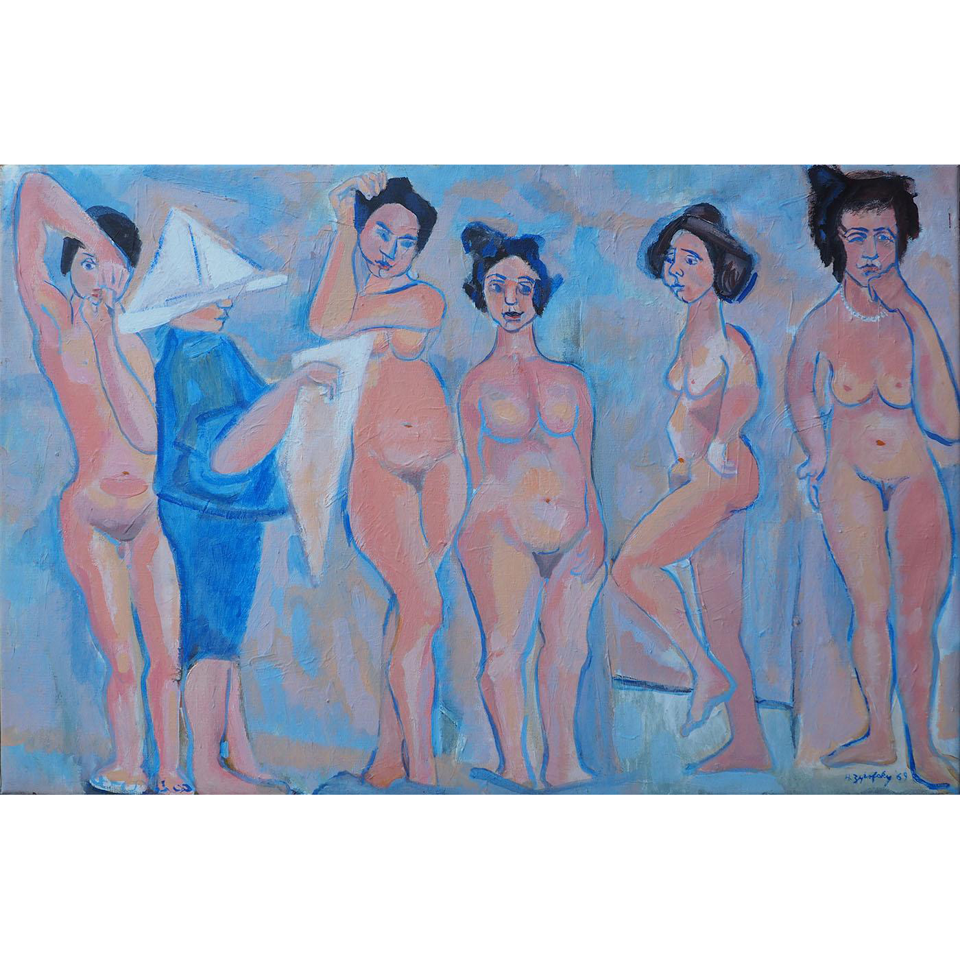 Vintage modern nude figures abstract surreal strange oil painting by Zurofsky
