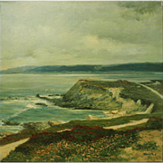 Gorgeous ocean beach seascape vintage oil painting by Bruce Peil