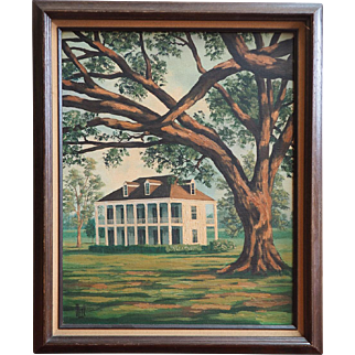 Deep South mansion view vintage oil painting by New Orleans artist Stanley Beck
