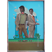 Two handsome men horse race betters surreal vintage painting by Wilson McLean