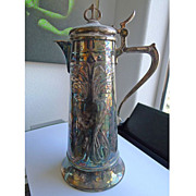 Beautiful Antique Art Nouveau Silver Plated WMF Claret Jug - Circa 1900
