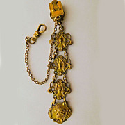 Antique Art Nouveau Gold Filled Watch Fob & Chain - Circa 1900
