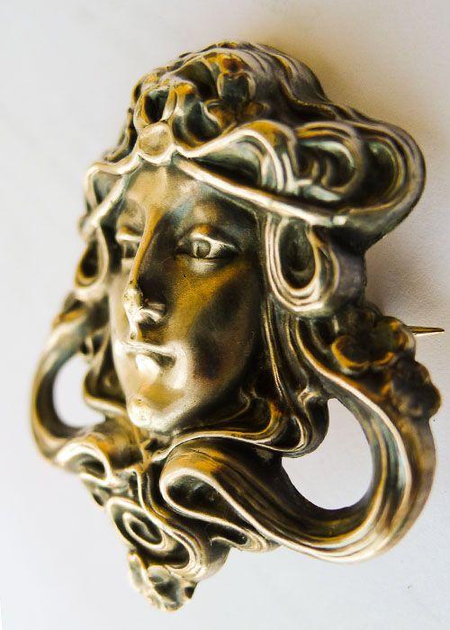 Large Beautiful Antique Art Nouveau Sterling Brooch - Circa 1900