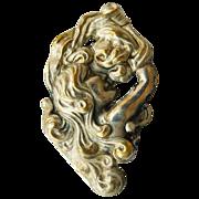Antique Art Nouveau Silver Plated Brass Brooch - Circa 1900