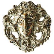 Large Antique Sterling Silver Art Nouveau Brooch  - Circa 1900