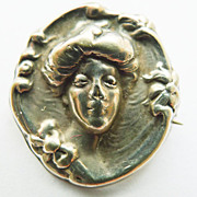 Small Antique Sterling Top Art Nouveau Brooch - Circa 1900