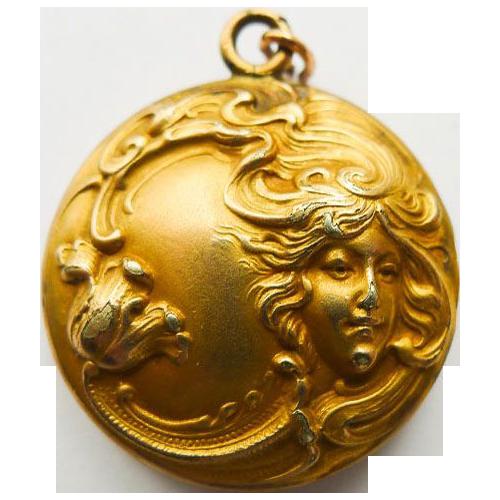 Antique Gold Filled Art Nouveau Locket - Circa 1900