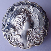 Antique Art Nouveau Sterling Silver Front Brooch Woman's Face Circa 1900